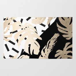 Simply Tropical Midnight Black Memphis Palm Leaves Rug