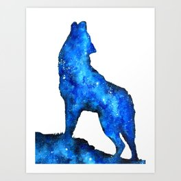 Howling Wolf | Space Wolf | Double Exposure Wolf | Wolf Painting | Blue Wolf Art Print