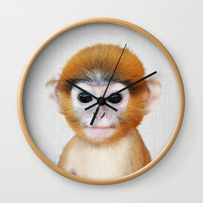 Baby Monkey - Colorful Wall Clock
