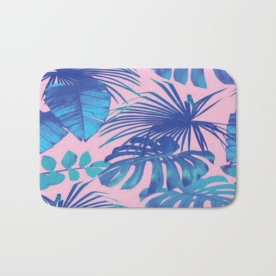 tropical leaf pattern pink  Bath Mat