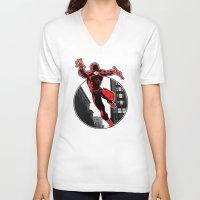 daredevil V-neck T-shirts featuring Daredevil by Atom Manhattan