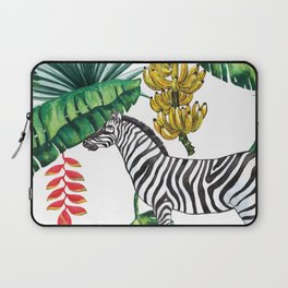 watercolor banana leaves with zebra Laptop Sleeve