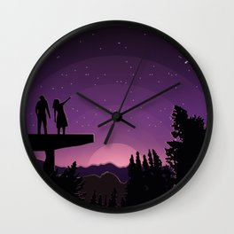 Falling star night Wall Clock