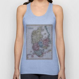 Vintage Map of Denmark (1838) Unisex Tank Top