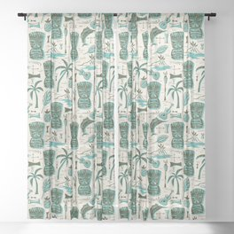 Tropical Tiki - Cream & Aqua Sheer Curtain