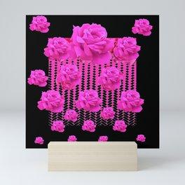 MODERN BLACK ART CERISE PINK ROSE GARDEN Mini Art Print