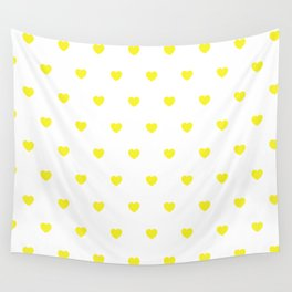 HEARTS ((sunshine yellow on white)) Wall Tapestry