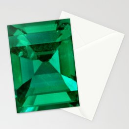 FACETED EMERALD GREEN MAY GEMSTONE Stationery Cards