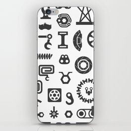 Black and White Seamless Pattern. Set of Industrial or Construction Vector Items on White iPhone Skin