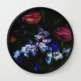 Colourful Moody Blooms Wall Clock
