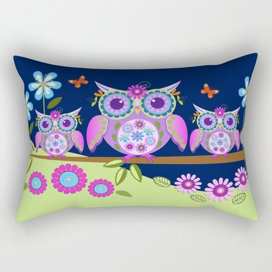 Flower power owls in a summer environment Rectangular Pillow
