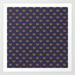 Mini Gold Crowns on Royal Blue Art Print
