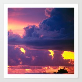 Purple Sunset Over Tiny Island in Micronesia Art Print
