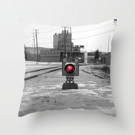 Train Track Signal Light Throw Pillow