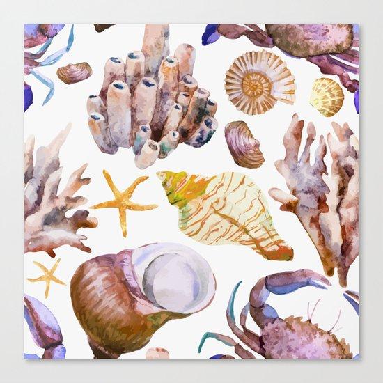 Sea Life Pattern 12 Canvas Print