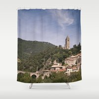 france Shower Curtains featuring Olargues France by Maria Heyens