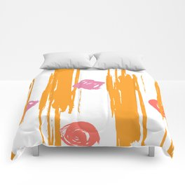 chic Living Coral Shimmering Sunset brushstrokes Comforters