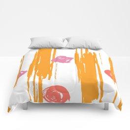 Living Coral Shimmering Sunset Brushstrokes Comforters