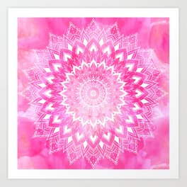 Boho chic white floral mandala on neon pink watercolor tie dye Art Print