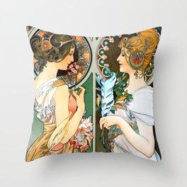 "Alphonse Mucha ""Primrose and Feather"" Throw Pillow"