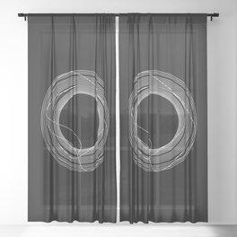 White Tangled Circles Sheer Curtain