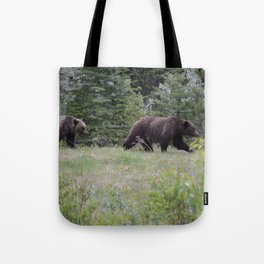 Grizzly bears in the Rocky Mountains Tote Bag