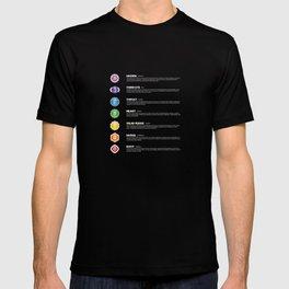 7 Chakra Chart & Symbols #17 T-shirt