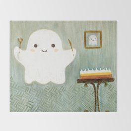 Little ghost and lemon pie Throw Blanket