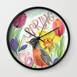Welcome Spring Robin Wall Clock