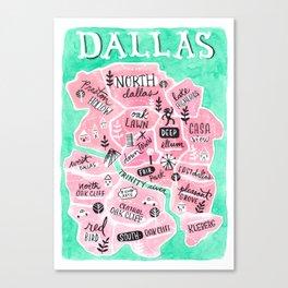 Dallas City Map Canvas Print