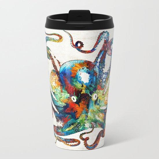 Colorful Octopus Art by Sharon Cummings Metal Travel Mug