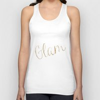 gold glitter Tank Tops featuring Gold Glitter Alligator Print by Zen and Chic
