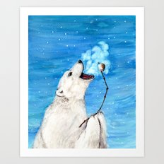 Polar Bear with Toasted Marshmallow Art Print