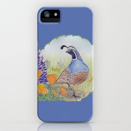 California Quail with Poppies and Lupine on Blue iPhone Case