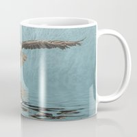 birdman Mugs featuring Bald Eagle on Misty Lake by tarrby/Brian Tarr