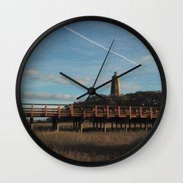Old Baldy Lighthouse | Drone Photo 2 | Bald Head Island, NC Wall Clock