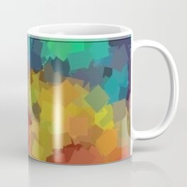 Dazzling Abstract / Cubism Painting with Edging (orange, blue, yellow, teal) Coffee Mug