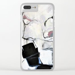 Many Road Abstract Contemporary Artwork Lines Marks Pink Black White Clear iPhone Case
