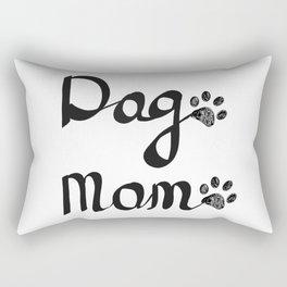 Calligraphic handwriting ''Dog Mom'' text. Doodle black paw print Rectangular Pillow
