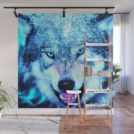 Blue wolf face Wall Mural