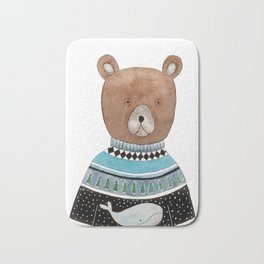 Bear in knitted sweater Bath Mat