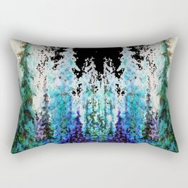 Western Turquoise Modern Art Mountain Trees Blue  Art Rectangular Pillow