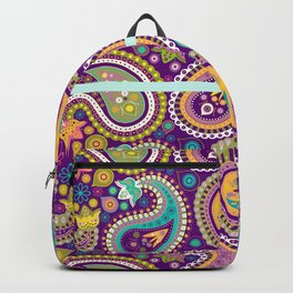 Checkered background with paisley pattern Backpack