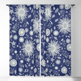 Beautiful Flowers in Navy Vintage Floral Design Blackout Curtain