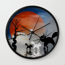 mooncats and their city Wall Clock