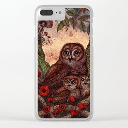 Tawny Owlets Clear iPhone Case