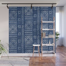 Line Mud Cloth // Dark Blue Wall Mural