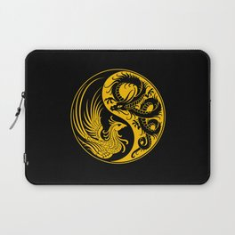 Yellow and Black Dragon Phoenix Yin Yang Laptop Sleeve