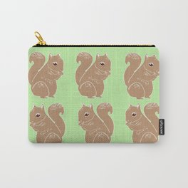 Light Brown Squirrels with Light Green Pattern Carry-All Pouch
