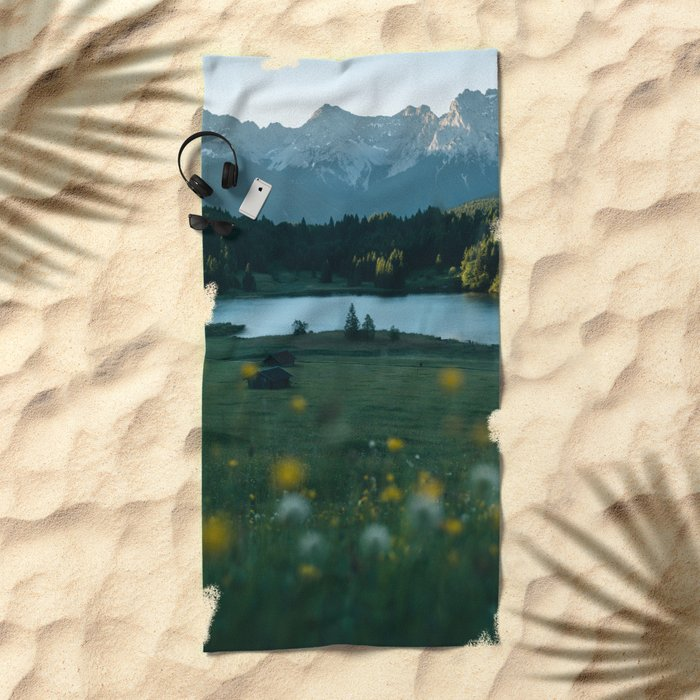 Sunrise at a mountain lake with forest - Landscape Photography Beach Towel